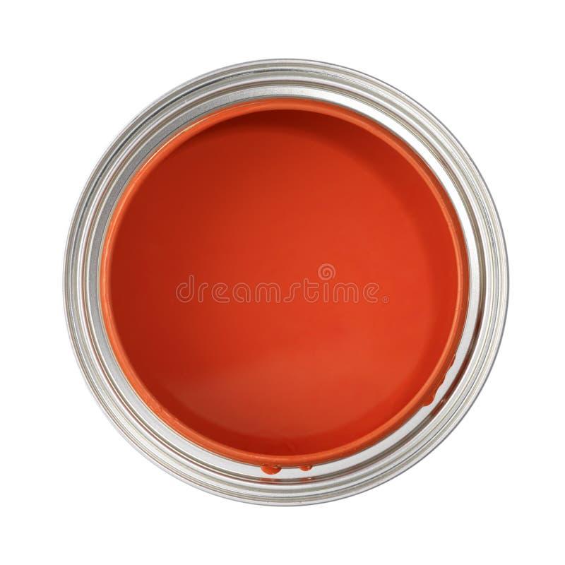 Possa enchido com a pintura vermelha imagens de stock royalty free