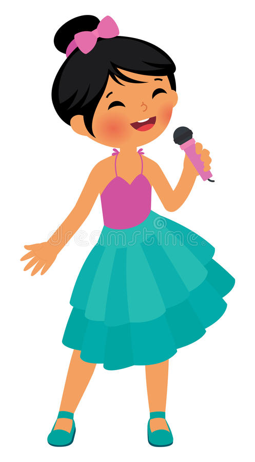 Posse asiática do canto da menina o microfone ilustração royalty free