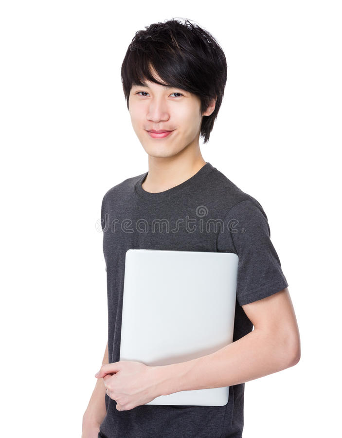 Posse asiática do homem novo com prancheta imagem de stock