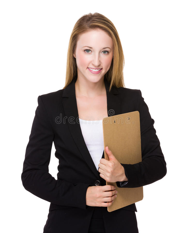 Posse caucasiano nova da mulher de negócios com prancheta fotos de stock