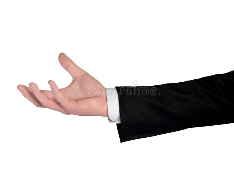 Posse da mão do homem de negócio algo fotografia de stock royalty free