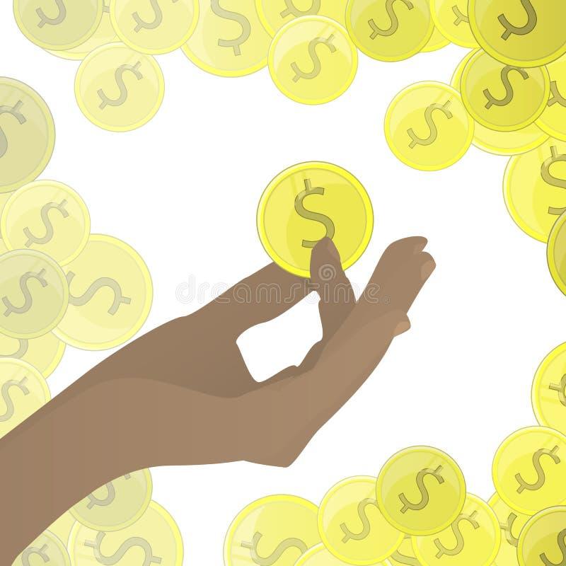 A POSSE da mão inventa o ouro dos dólares Em um fundo branco ilustração do vetor