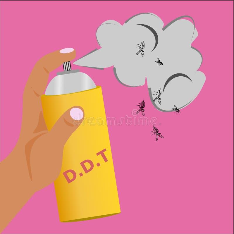 Posse da mão uma garrafa do pulverizador do DDT a obter livrada dos insetos, inseticidas ilustração royalty free