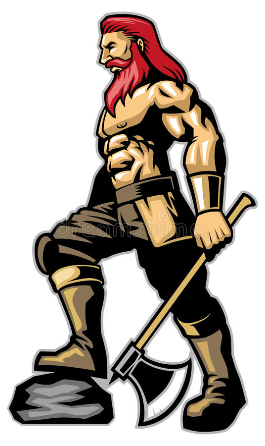 Posse da posição do guerreiro um machado ilustração royalty free