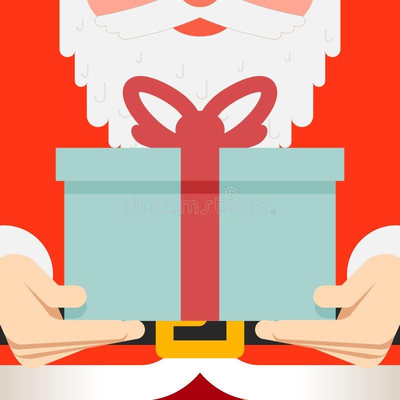 A posse de Santa Claus entrega a presente a correia atual da barba ilustração stock