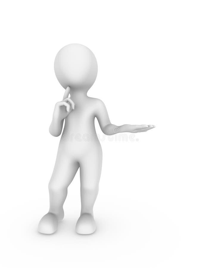 a posse do homem 3d branco algo o vosso à disposição e pensa ilustração royalty free