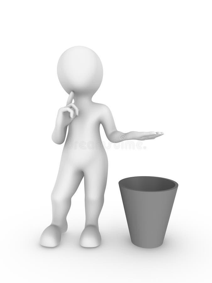 a posse do homem 3d branco algo o vosso sobre uma reciclagem e pensa ilustração do vetor
