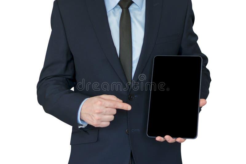 Posse do homem de negócio a tabuleta e o ponto nele pelo dedo Zombaria acima fotografia de stock