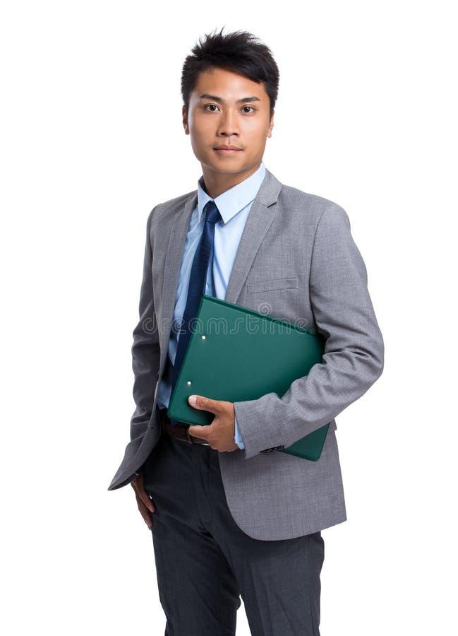 Posse nova asiática do homem de negócios com prancheta imagens de stock royalty free