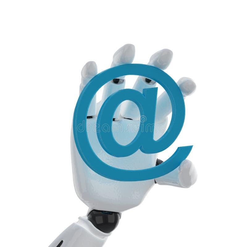 Posse robótico da mão um símbolo do email fotografia de stock royalty free