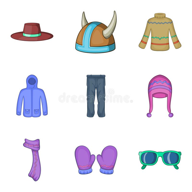 Possessions icons set, cartoon style. Possessions icons set. Cartoon set of 9 possessions vector icons for web isolated on white background stock illustration