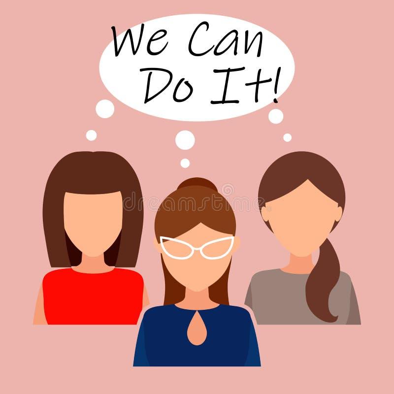 Possiamo farli Simbolo di potere femminile, diritti della donna, protesta, femminismo Vettore royalty illustrazione gratis