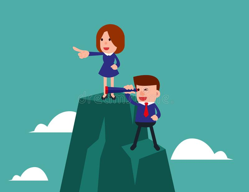 possibilit?s Les hommes d'affaires se tiennent sur la montagne utilisant le t?lescope recherchant le succ?s Illustration de vecte illustration stock