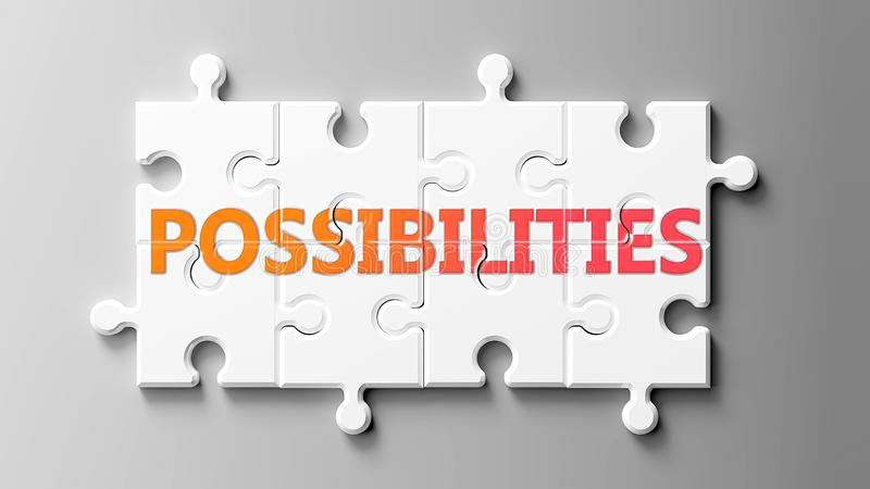 Possibilities complex like a puzzle - pictured as word Possibilities on a puzzle pieces to show that Possibilities can be royalty free illustration