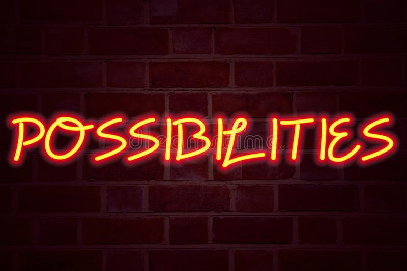 Possibilities neon sign on brick wall background. Fluorescent Neon tube Sign on brickwork Business concept for Impossible Choice C. Hoices 3D rendered Front View stock image