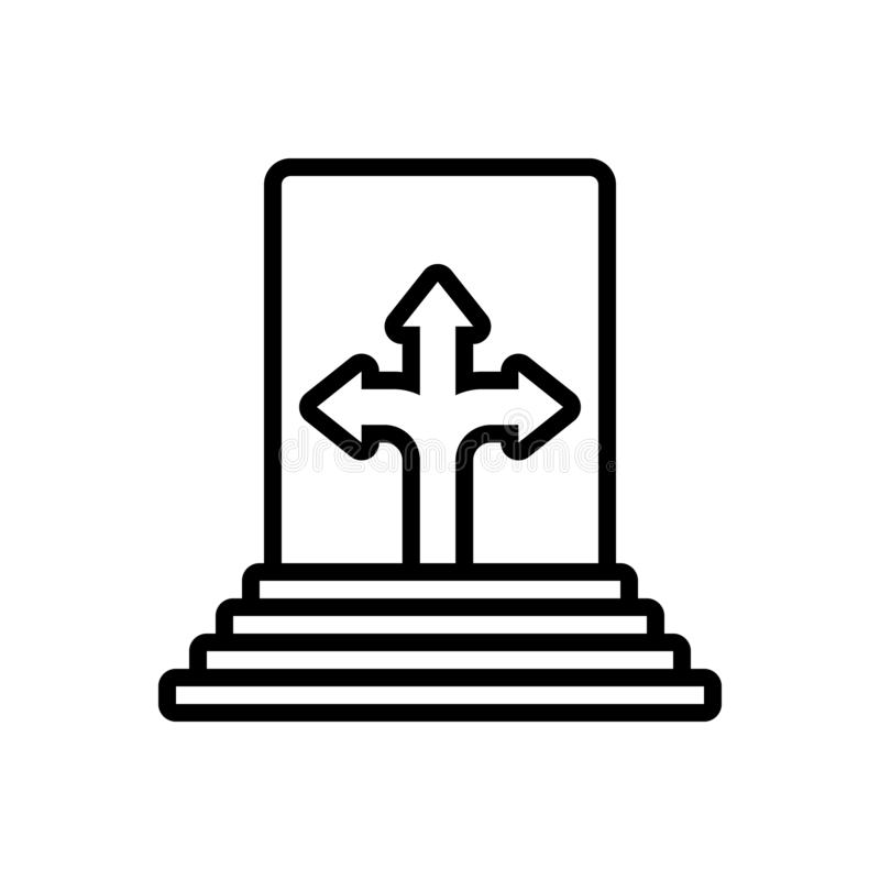 Black line icon for Possibility, probability and potential. Black line icon for Possibility, cross, logo, symbol,  probability and potential vector illustration