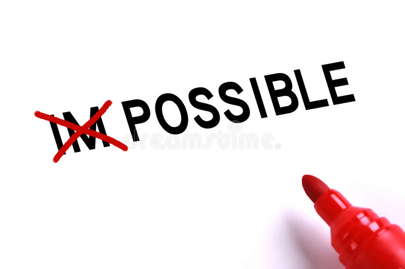 Possible,No Impossible. Possible concept with red marker on white background stock image