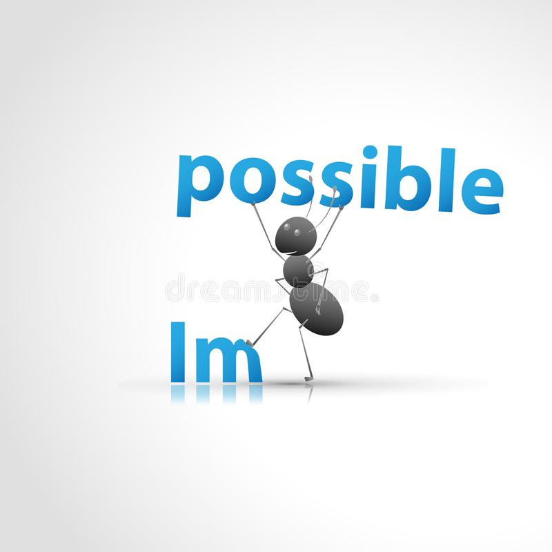 Always possible. A strong ant tears the word possible from the impossible word vector illustration