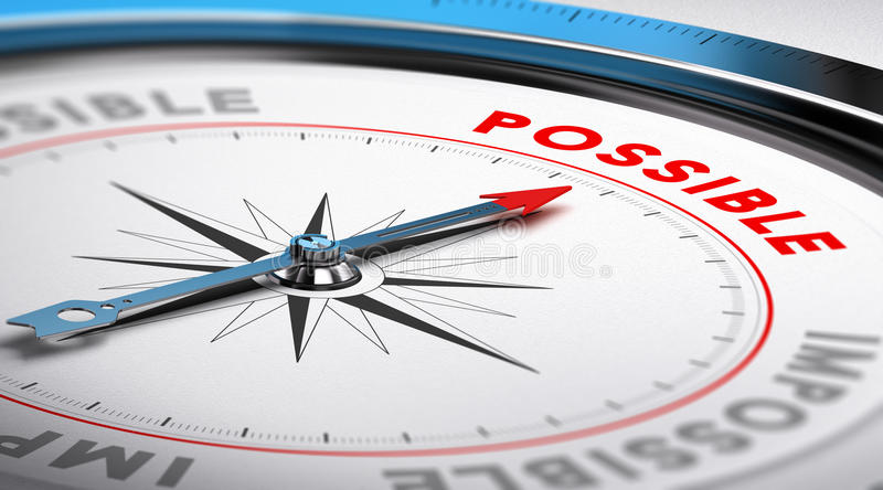 Possible Concept. Compass with needle pointing the word possible. Conceptual illustration suitable for motivation purpose or goal achievement royalty free illustration