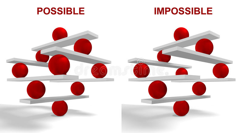 Possible and Impossible. Conceptual image of cooperation and teamwork royalty free illustration