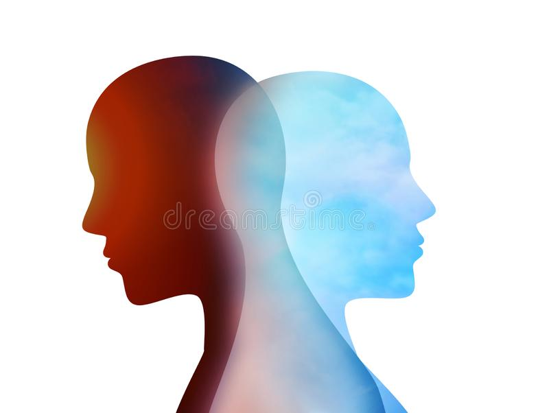 Concept change of mood. Emotions. Bipolar disorder mind mental. Split personality. Dual personality. Isolated head silhouette of m stock illustration