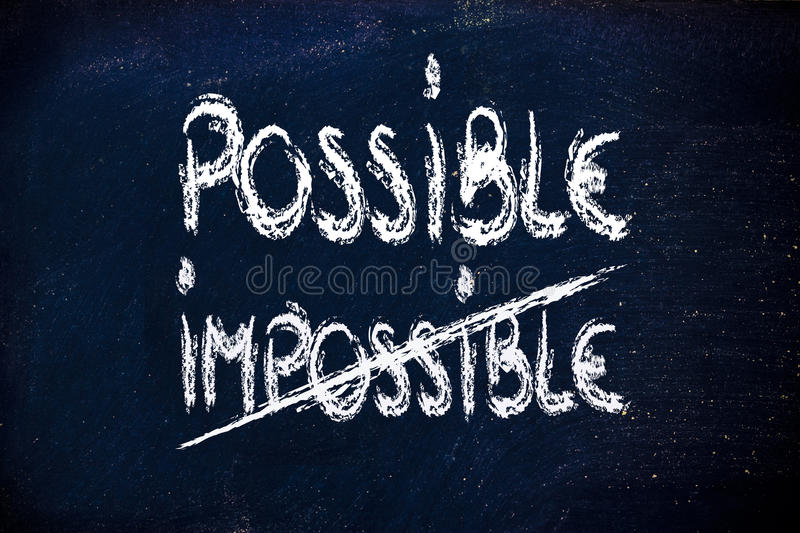 Download Possible Vs. Impossible, Challenge Concepts On Blackboard Stock Illustration - Image: 33244058