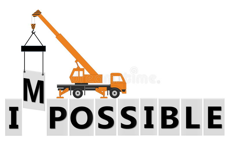 Possible. The word Impossible changed to possible royalty free illustration