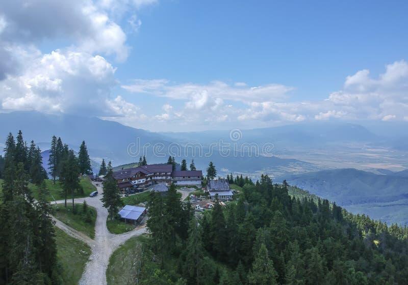 Postăvaru Chalet in the Carpathian Mountains , Romania stock image