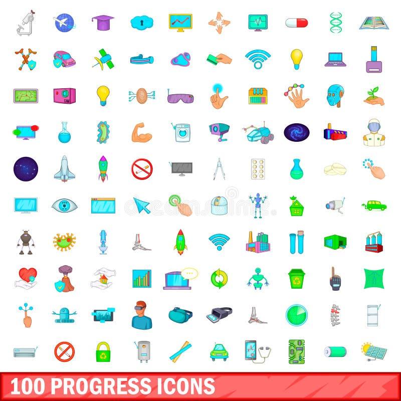100 postępów ikon ustawiających, kreskówka styl ilustracji