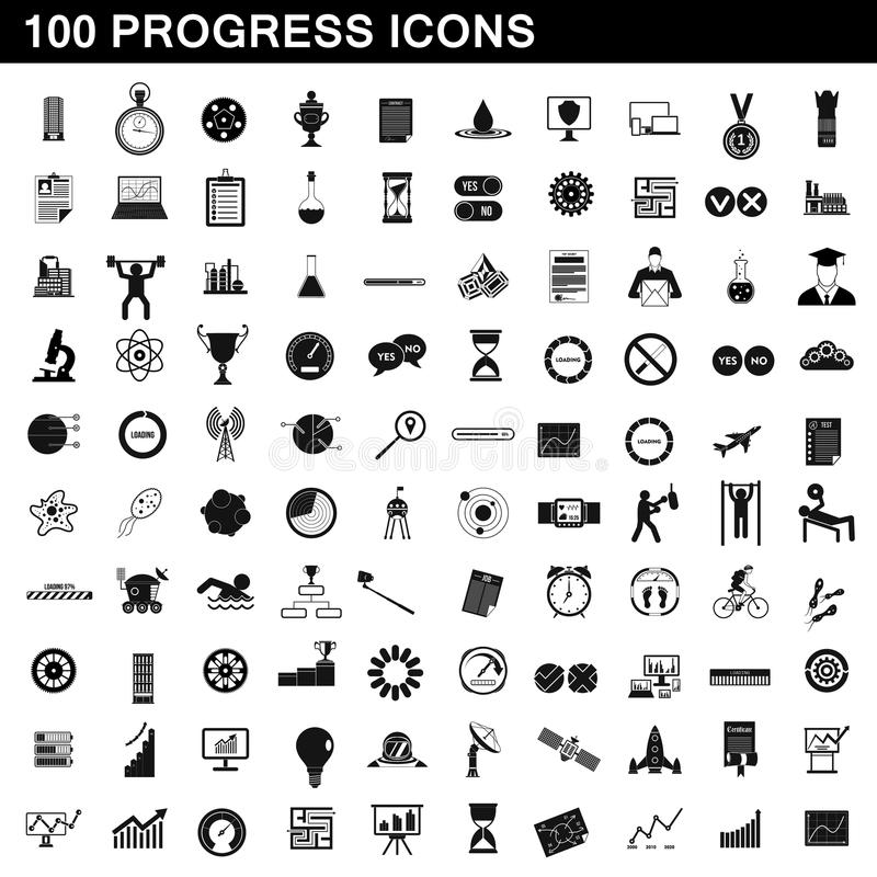 100 postępów ikon ustawiających, prosty styl royalty ilustracja