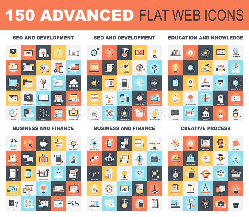 Postępowe Płaskie sieci ikony ilustracja wektor
