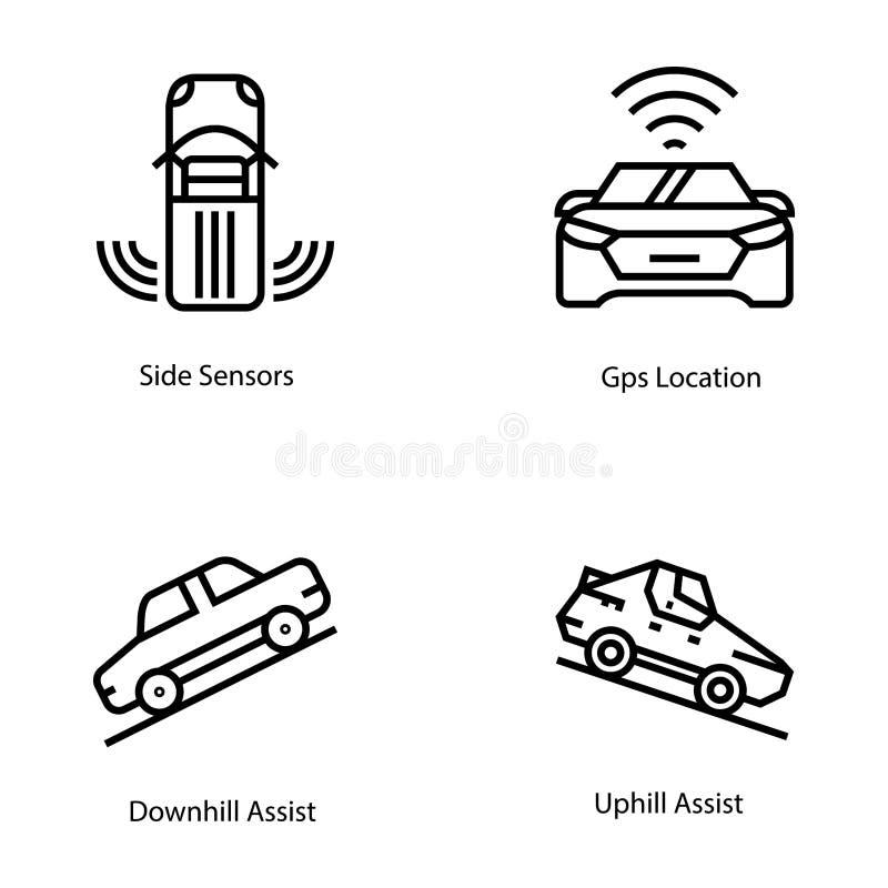 Postępowe Samochodowe techniki linii ikony royalty ilustracja