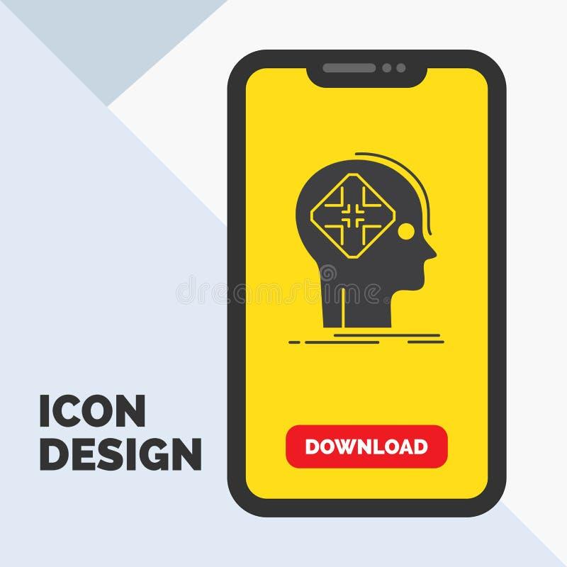 Postępowy, cyber, przyszłość, istota ludzka, umysłu glifu ikona w wiszącej ozdobie dla ściąganie strony ? ilustracji