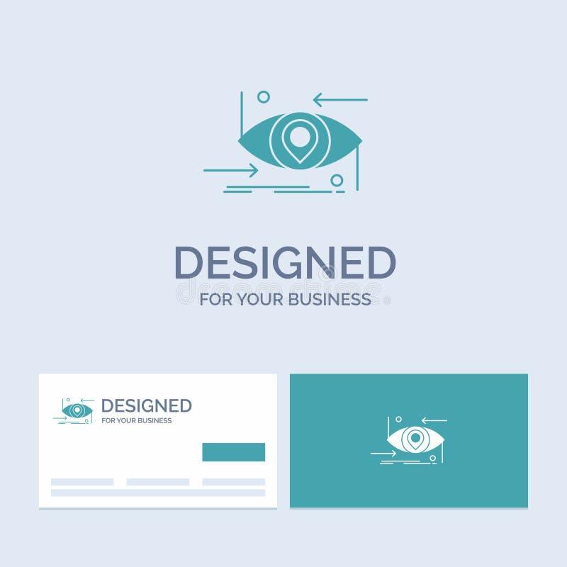 Postępowy, przyszłościowy, gen, nauka, technologia, oko logo glifu ikony Biznesowy symbol dla twój biznesu Turkusowe wizyt?wki z royalty ilustracja