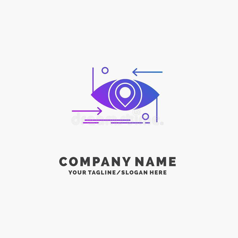 Postępowy, przyszłościowy, gen, nauka, technologia, oko logo Purpurowy Biznesowy szablon Miejsce dla Tagline ilustracji