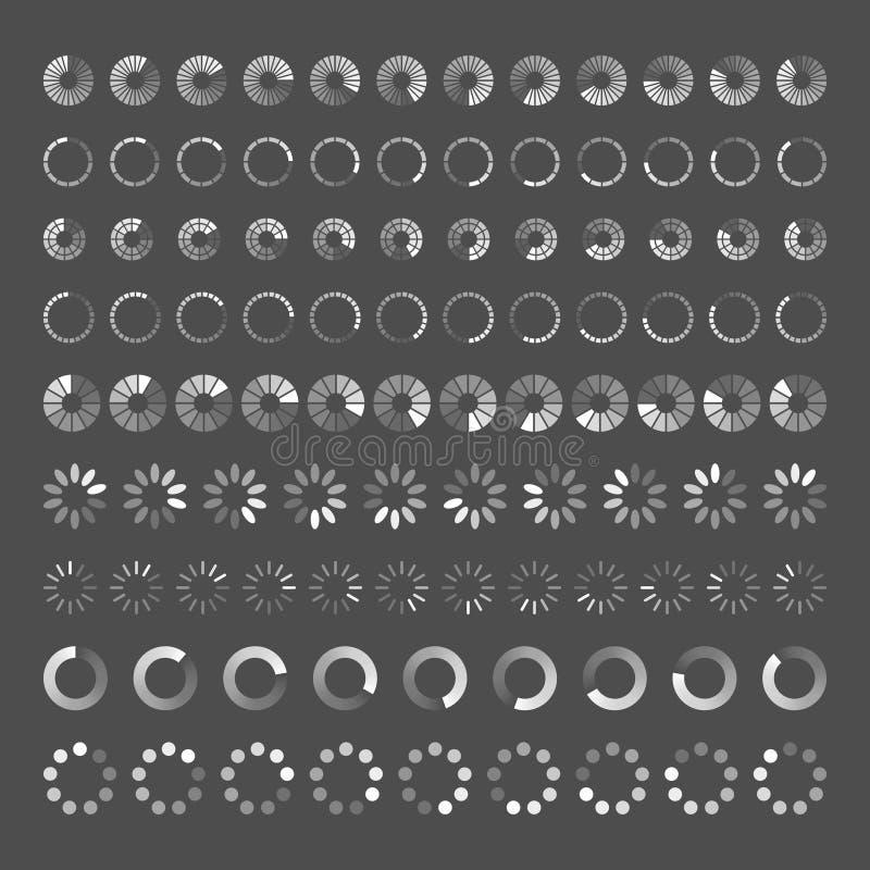 Postępu ładowania bar Set wskaźniki Ściąganie postęp, sieć ilustracja wektor