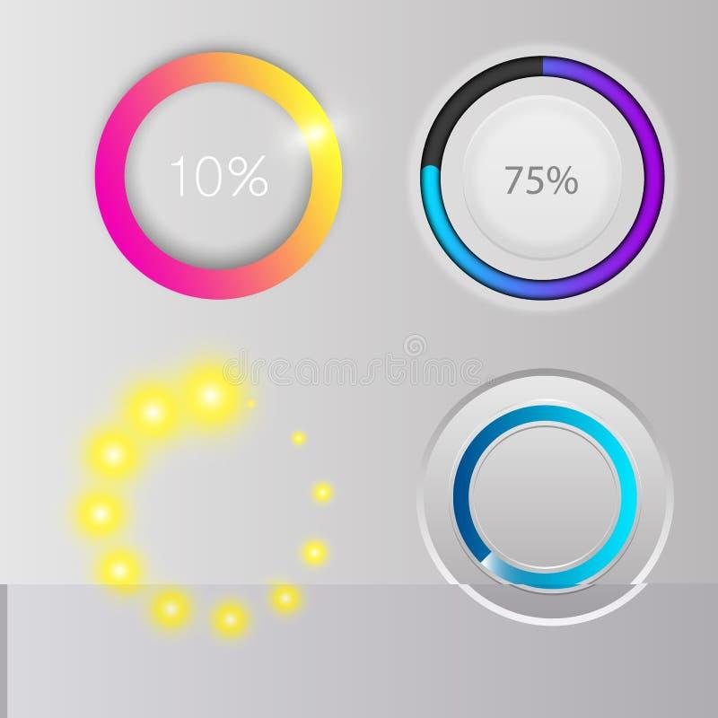 Postępu ładowania baru wskaźników ściągania postępu Ux sieci interfejsu projekta szablonu kartoteki upload wektoru ilustracja ilustracja wektor