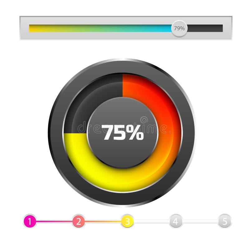 Postępu ładowania baru wskaźników ściągania postępu Ux sieci interfejsu projekta szablonu kartoteki upload wektoru ilustracja ilustracji