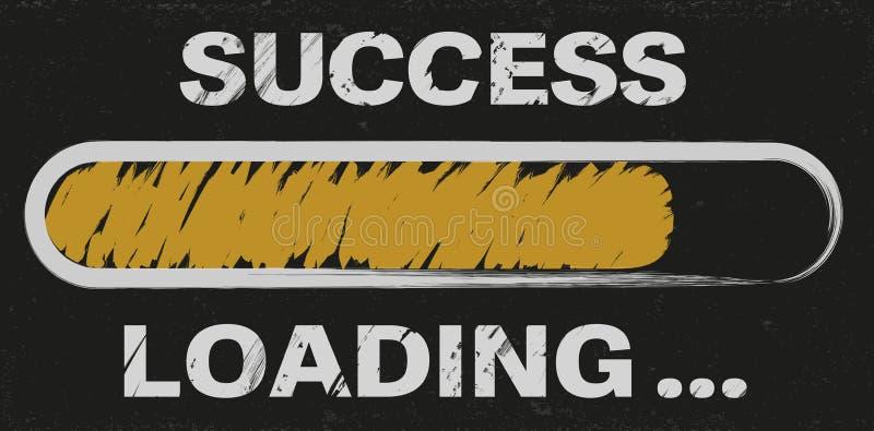 Postępu bar z słowo sukcesu ładowaniem ilustracji