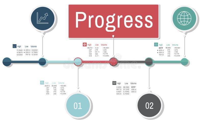 Postępu ulepszenia misi Develoment Inwestorski pojęcie ilustracja wektor