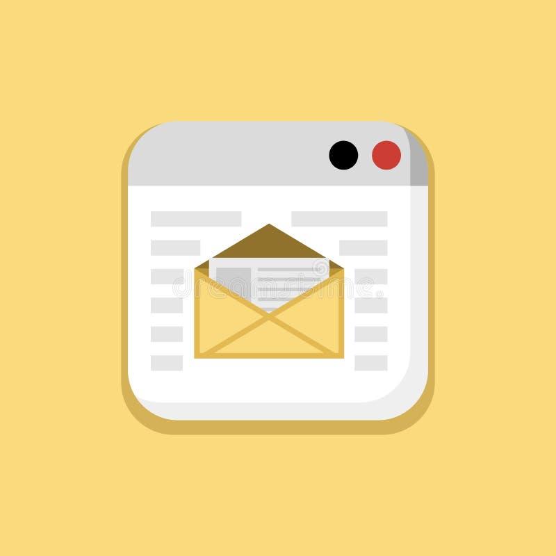 Download Post, Adres, E - Postvenster In Geel Pictogram Vector Illustratie - Illustratie bestaande uit toepassing, browser: 114227054