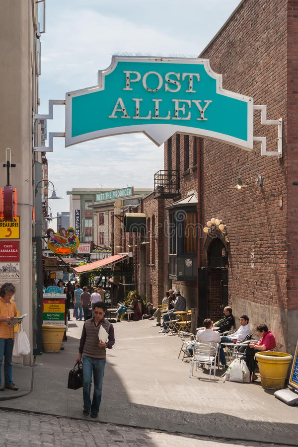 Post Alley under Pike Place Public Market, Seattle royalty free stock images