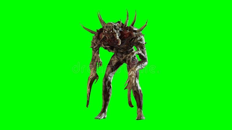 Post-apocalisse nucleare 3d mutante rendere illustrazione di stock