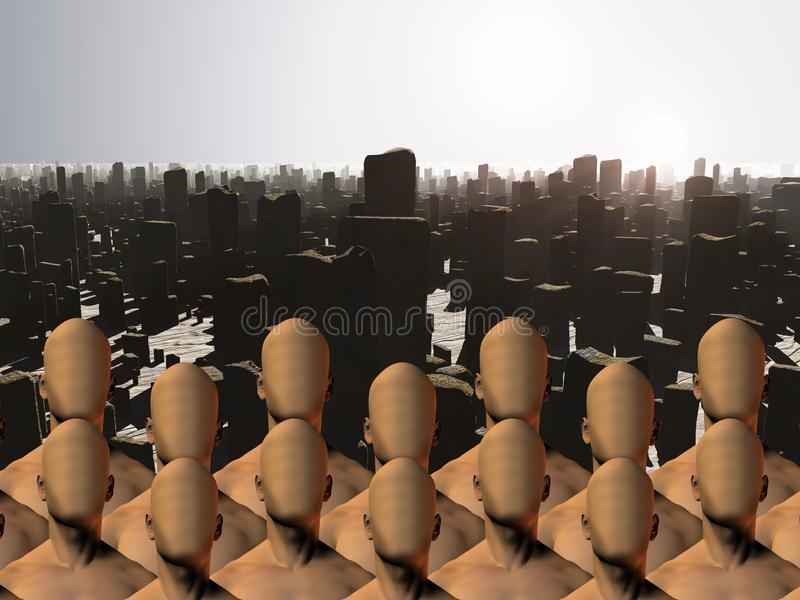 Faceless male masses before ruins. Post Apocalypse. Faceless male masses before ruins. Human elements were created with 3D software and are not from any actual vector illustration