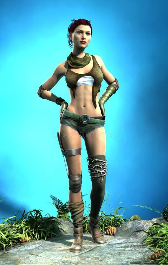 Post-apocalypse woman stock image