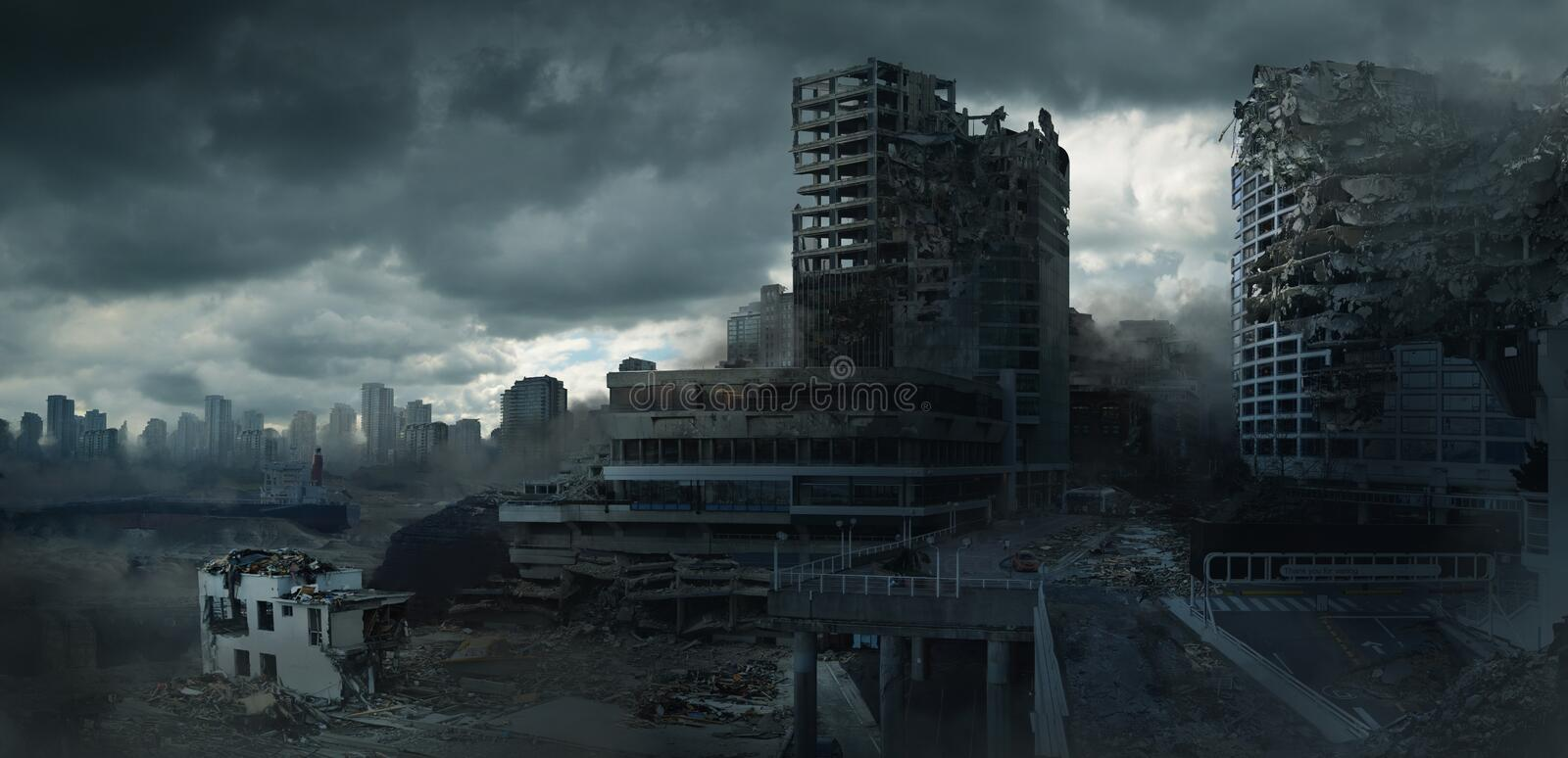 Post Apocalyptic End of Civilization royalty free stock image
