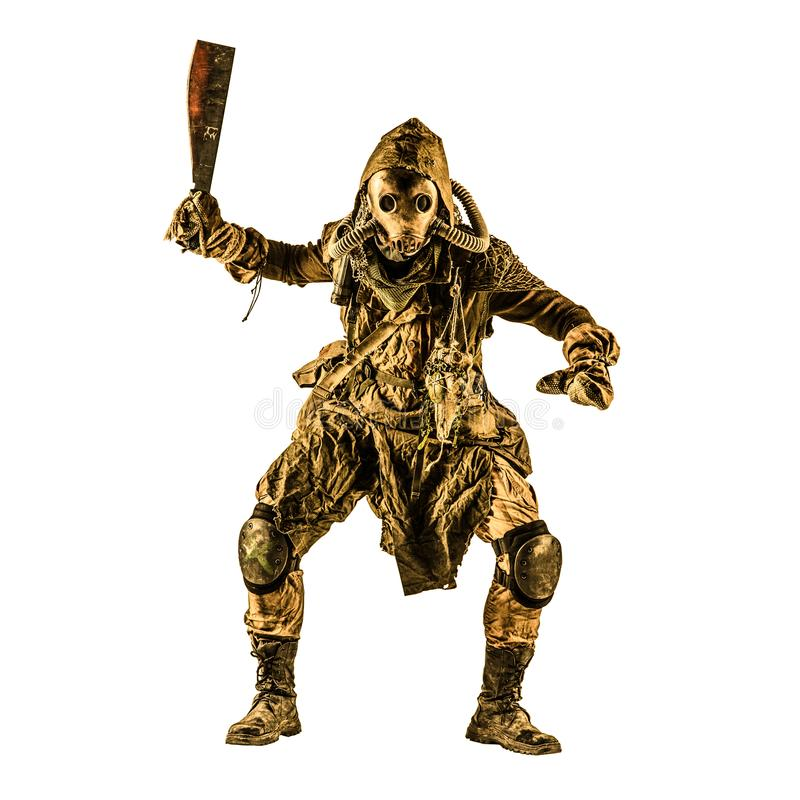 Post apocalyptic human threatening with cane knife. Aggressive and evil humanoid monster or creature of post apocalyptic, poisoned by dangerous pollution world royalty free stock photography