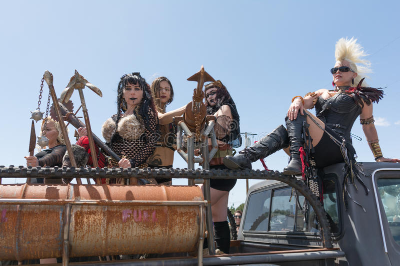 Post-apocalyptic survival costume girls royalty free stock photo