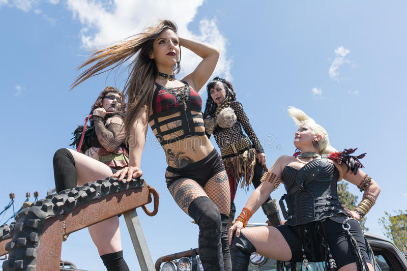 Post-apocalyptic survival costume girls. Torrance, USA - May 21, 2016: Post-apocalyptic survival costume girls during 1st Annual Wasteland World Car Show royalty free stock photography