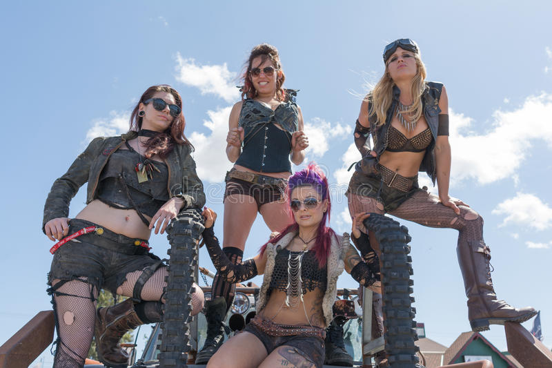 Post-apocalyptic survival costume girls royalty free stock photography